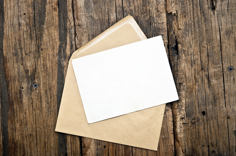 an empty card and envelope