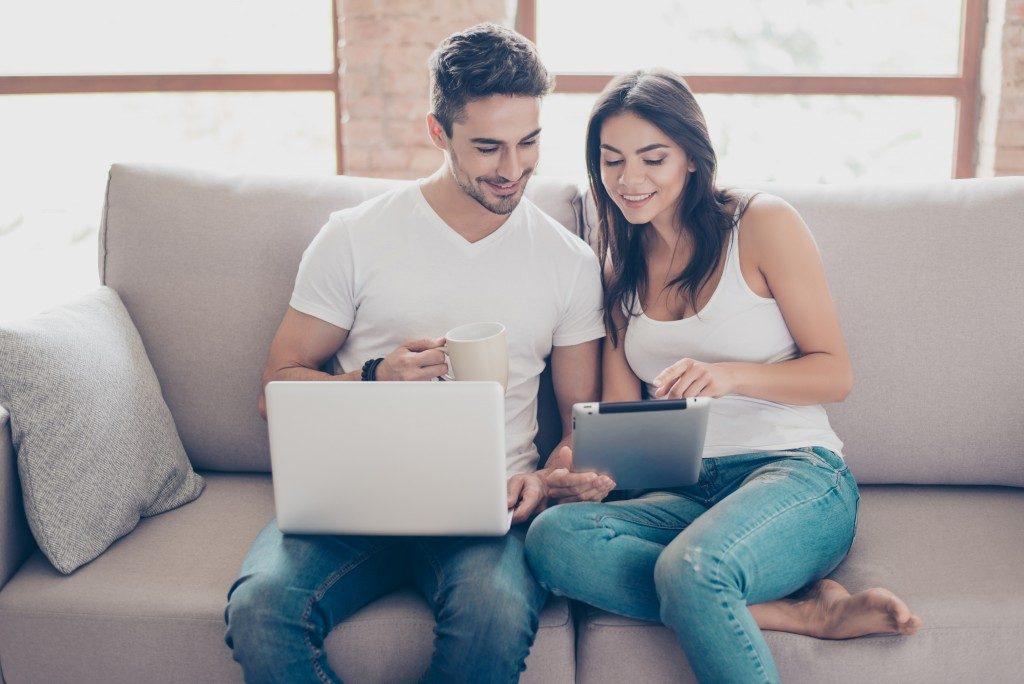 Couple enjoying online shopping