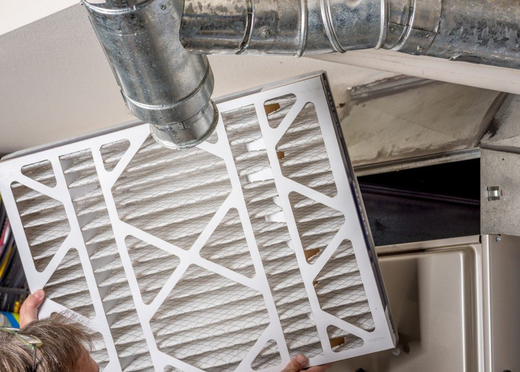 Man holding the furnace filter