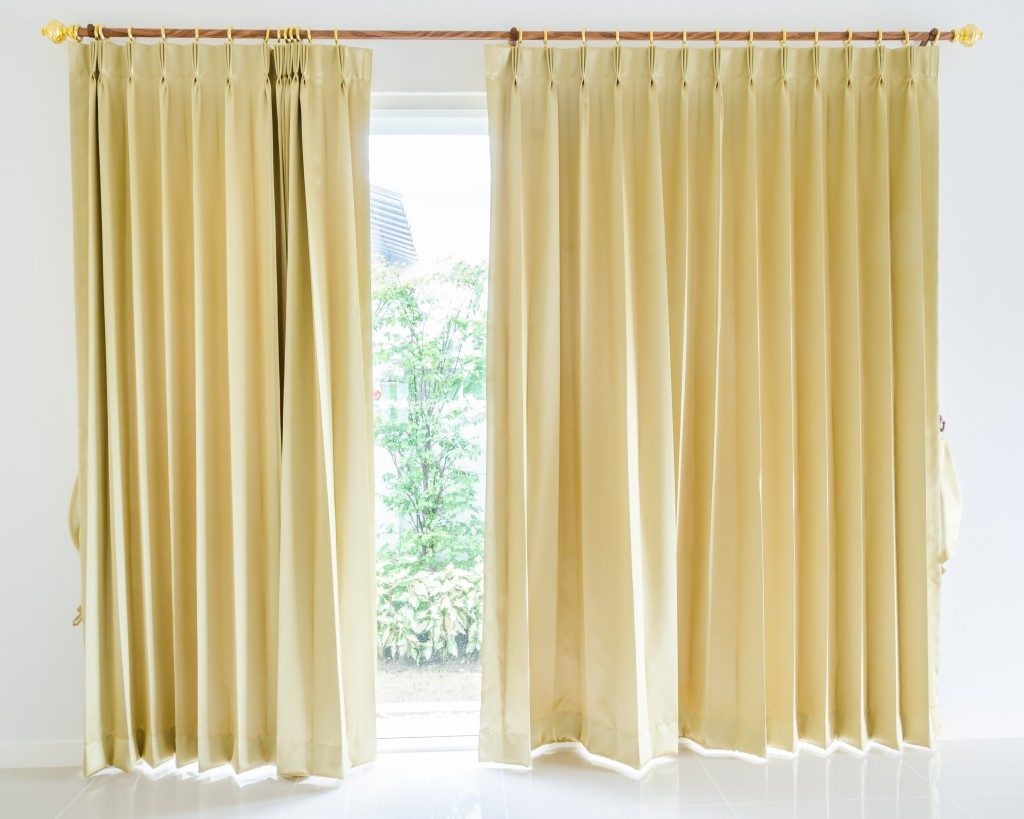 Gold living room curtain