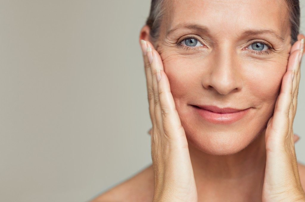 middle aged woman with healthy skin