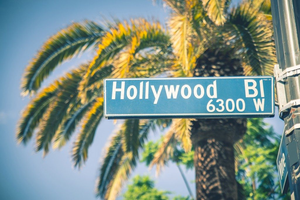 Hollywood boulevard street sign in california
