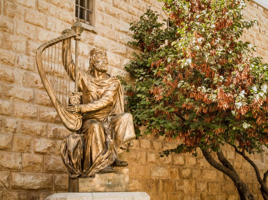Israel statue of David and harp