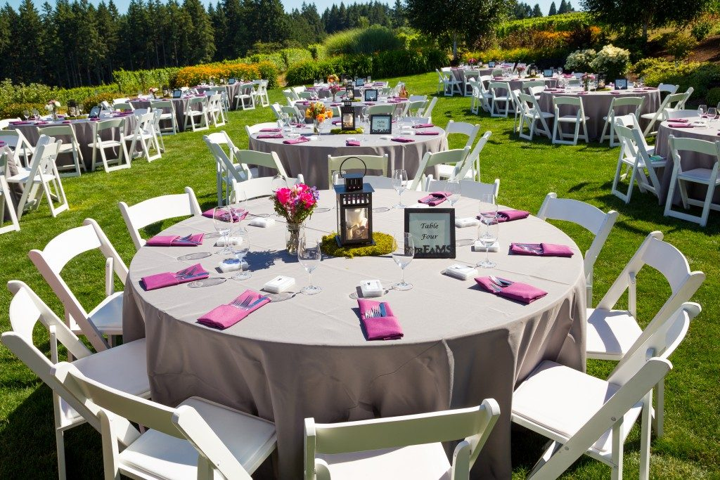 Wedding reception in a garden