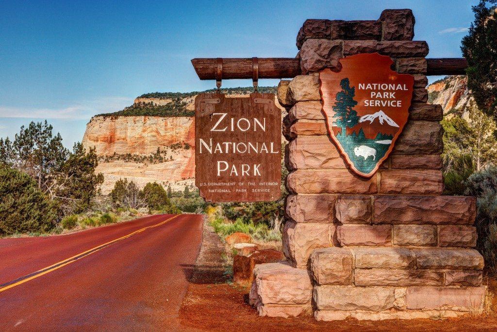 East Entrance Zion National Park Sign Utah