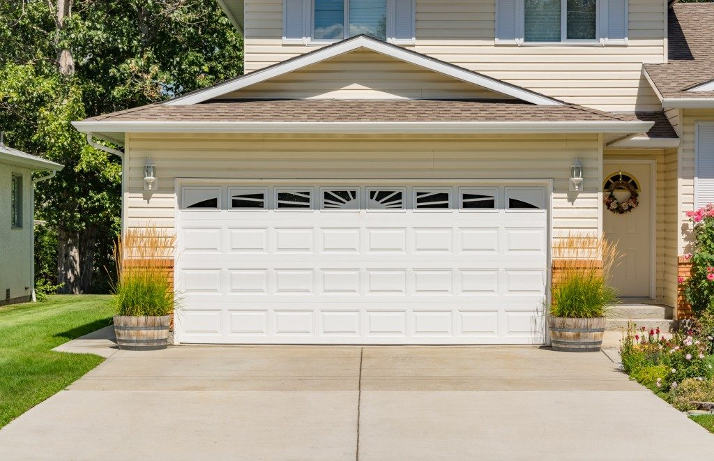 White garage door that is closed