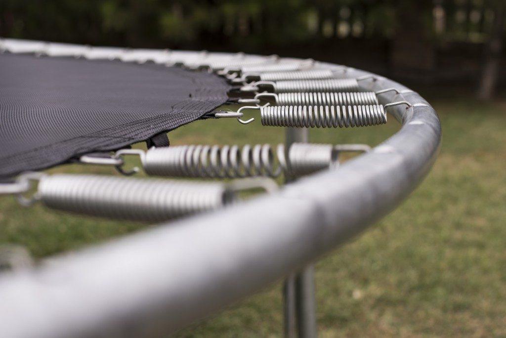 closeup of a trampoline
