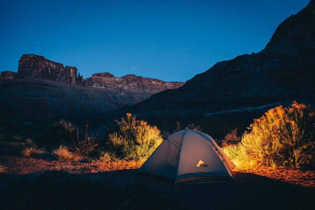 Camp tent at night