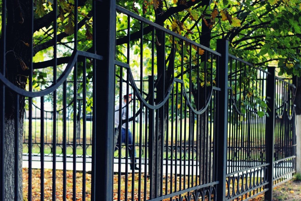 black fence in the park
