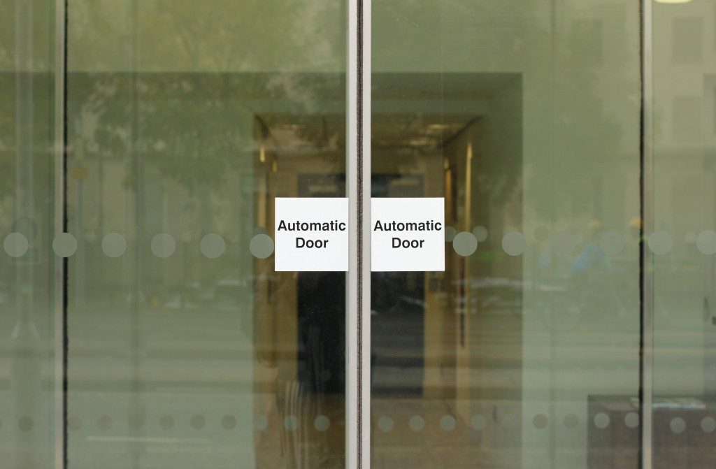 automatic door with sign