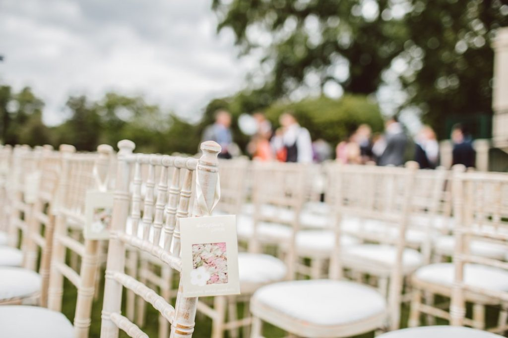 white chairs for wedding