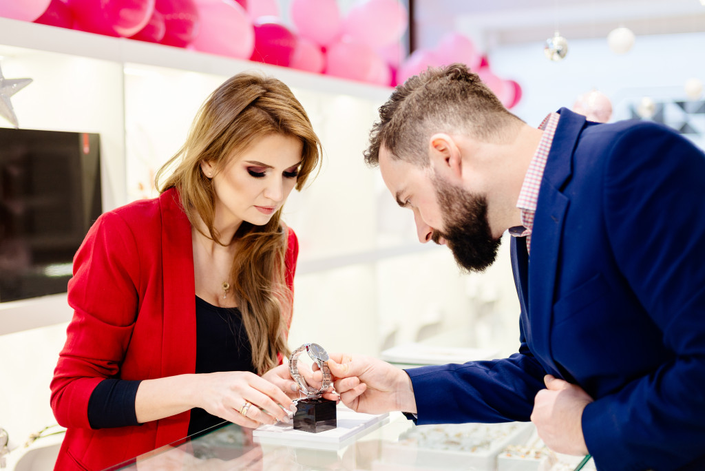 woman buying watch