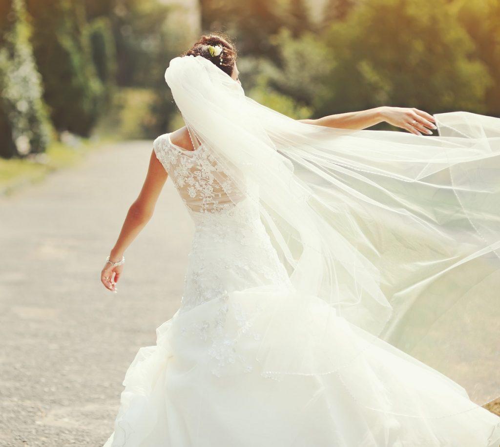 wearing a wedding dress
