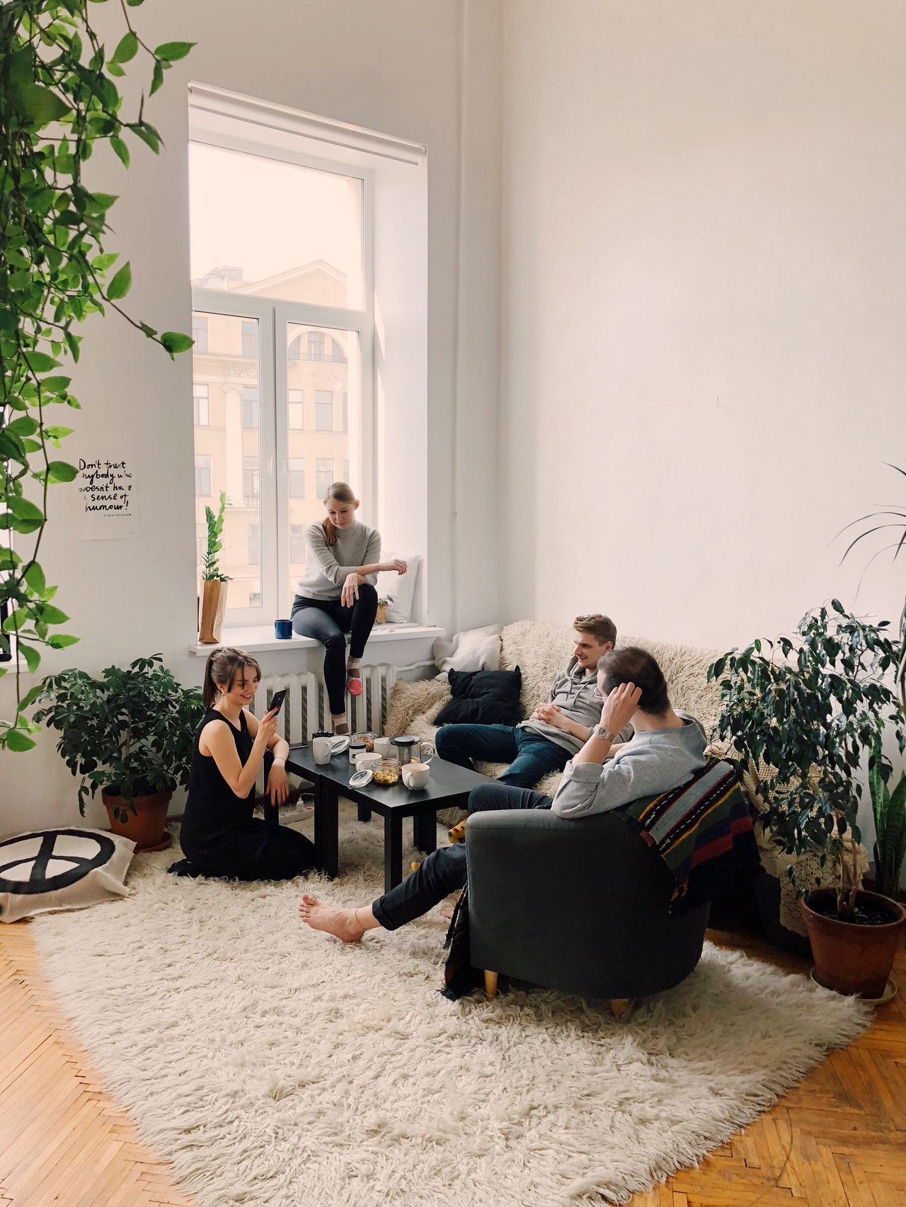 group of people in the living room