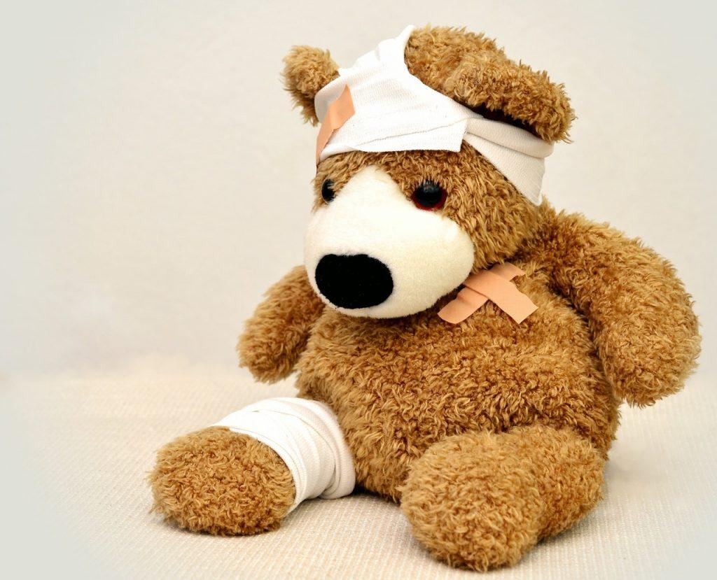 injured teddy bear