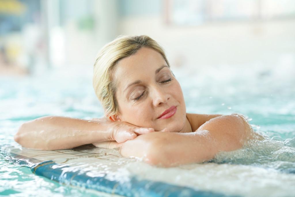 woman on bath
