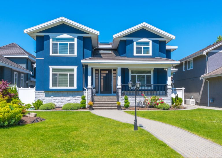 blue two story house